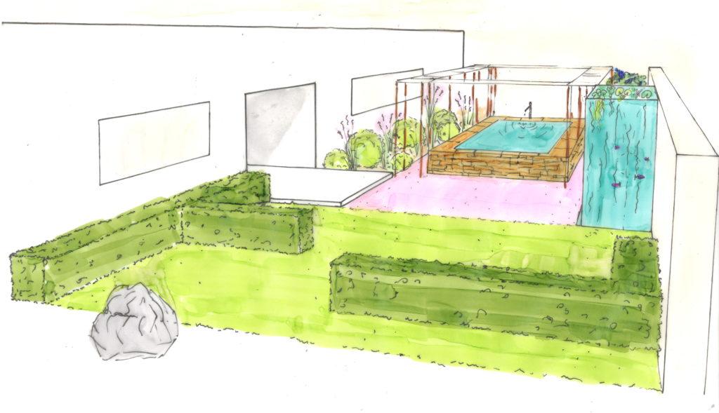 jardin contemporain architecture et l'extérieur se mettent en valeur, la rigueur des lignes épurées contraste avec la fantaisie des couleurs