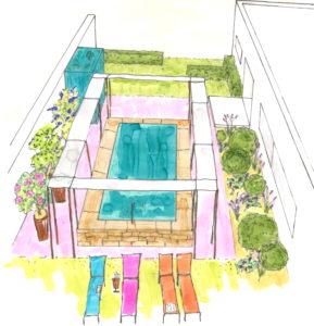 t Dans ce jardin contemporain l'architecture et l'extérieur se mettent en valeur, la rigueur des lignes épurées contraste avec la fantaisie des couleurs.
