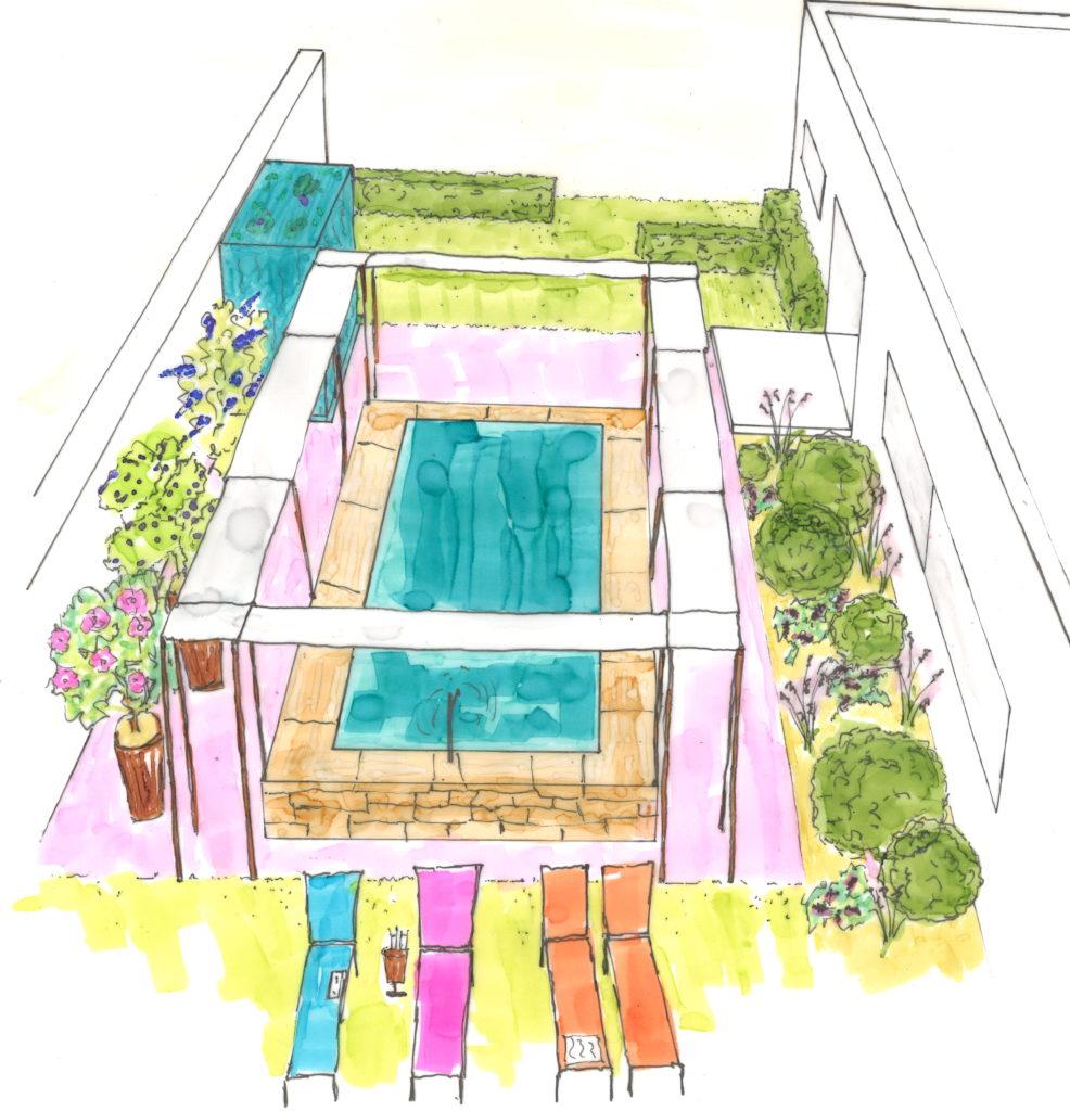 jardin contemporain l'architecture et l'extérieur se mettent en valeur, la rigueur des lignes épurées contraste avec la fantaisie des couleurs