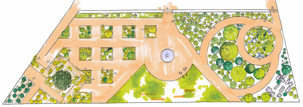 plan de plantation d'un jardin religieux avec deux univers distinct symbolisant la nature féminine d'une part et la culture, fruit du travail de l'homme